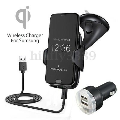 Qi Wireless Car Charger Dock Windshield Mount Holder For Samsung S8 S8+ S7 S6 AU