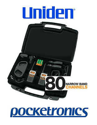 Uniden UH710-2TP TRAVEL PACK Walkie Talkie + Earpiece + Car Charger + Case NEW