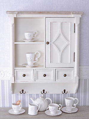 Wall Cabinet Country House Style Wall Board Hanging Shelf White Kitchen Cabinet