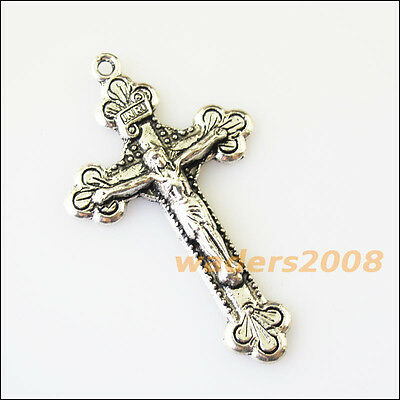 3 New Flower Jesus Cross Tibetan Silver Tone Charms Pendants 28x48mm