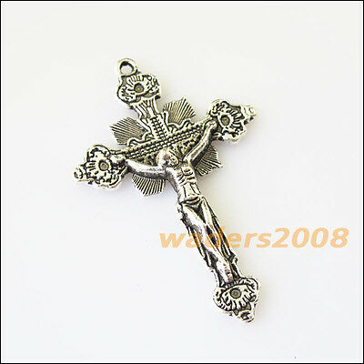 3 New Flower Jesus Cross Tibetan Silver Tone Charms Pendants 31x48mm