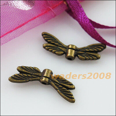 15 New Charms Animal Dragonfly Wings Spacer Beads 7x20mm Antiqued Bronze