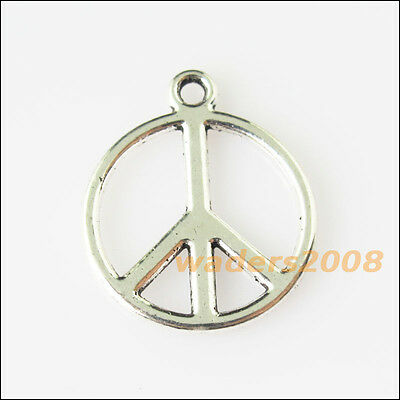 15 New Round Peace Sign Tibetan Silver Tone Charms Pendants 17.5x21mm