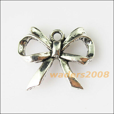 6 New Butterfly Bow Tibetan Silver Tone Charms Pendants 19x22.5mm