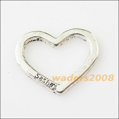 12 New Smooth Heart Lock Tibetan Silver Tone Charms Pendants 11.5x25mm