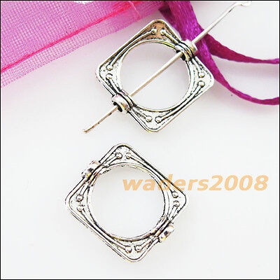 12 New Charms Square Circle Spacer Frame Beads 14x15.5mm Tibetan Silver