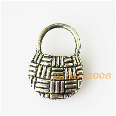 12 New Chinese Knot Shopping Bag Tibetan Silver Tone Charms Pendants 11.5x17mm