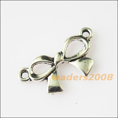 10 New Butterfly Bow Connectors Tibetan Silver Tone Charms Pendants 12x23mm