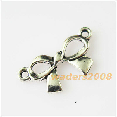 15 New Butterfly Bow Connectors Tibetan Silver Tone Charms Pendants 12x23mm