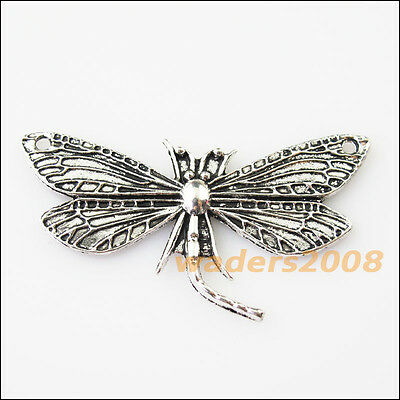 4 New Dragonfly Animal Connectors Tibetan Silver Tone Charms Pendants 30x48.5mm