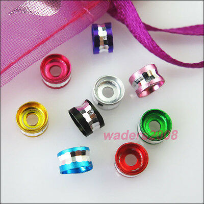 80 New Charms Mixed Diamond Cut Aluminum Rondelle Spacer Beads 6mm