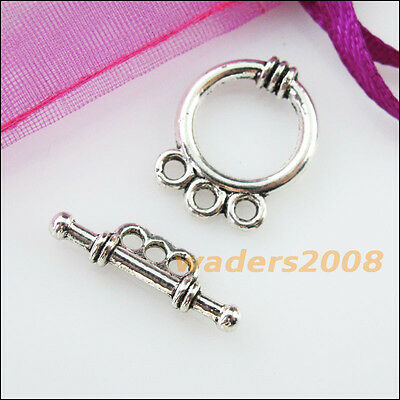 8 New Connectors Necklace Smooth Round Circle Toggle Clasps Tibetan Silver