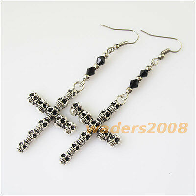 2Pairs Winsome Retro Chinese Knot Black Crystal Dangle Hook Earrings Women