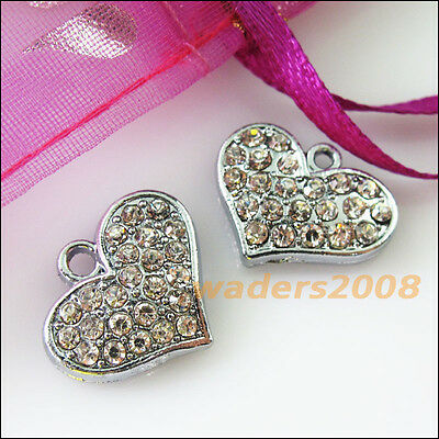 4 New Heart Charms Crystal Dull Silver Pendants Craft DIY 14x18mm