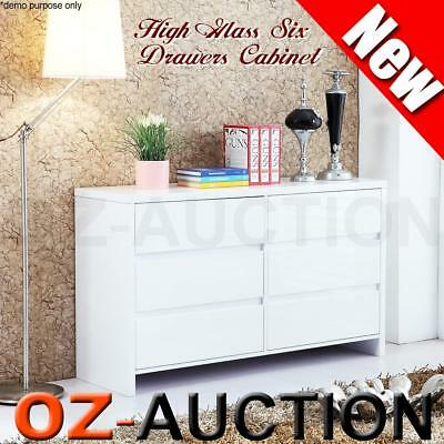 High Gloss White 6 Chest Drawers Dressers Cabinet Storage Buffet Sideboard Table
