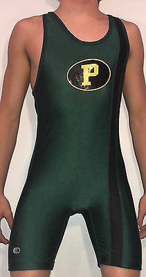 RARE Authentic Mens Wrestling Singlet Cliff Keen high school team used spandex L