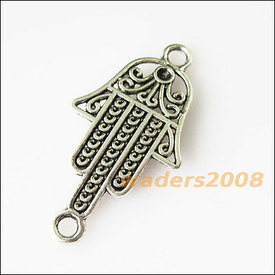 6 New Flower Hand Palm Connectors Tibetan Silver Tone Charms Pendants 20x39mm