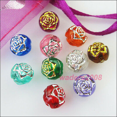 60 New Acrylic Charms Rose Flower Round Spacer Beads Mixed for DIY Crafts 8mm