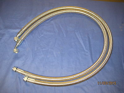 MG PAIR MGB STAINLESS STEEL OIL COOLER HOSES RUBBERBUMPER 1974 ON SAME SIZE bcs8