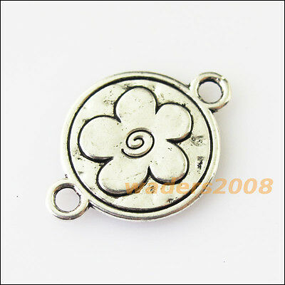 8 New Round Flower Star Connectors Tibetan Silver Tone Charms Pendants 16x23mm