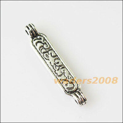 16 New 1-1 Flower Connectors Tibetan Silver Tone Charms Pendants 5x25mm