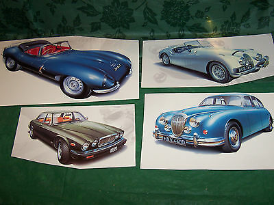 JAGUAR CAR PRINT ILLUSTRATIONS... collection of FOUR designed for a calendar