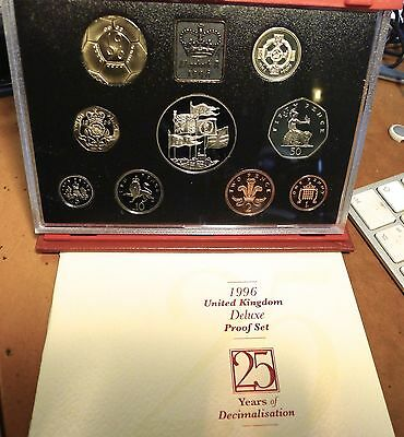1996 Royal Mint 9 coin DELUXE PROOF set Football £2 Queen's 70th £5 Five Pound
