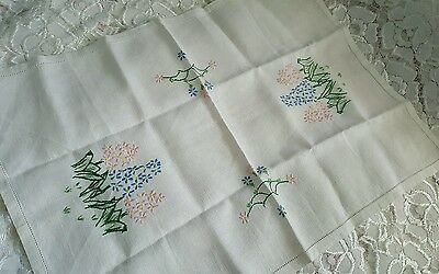 Pretty vintage LINEN hand embroidered  hyacinths tray / table cloth tea party