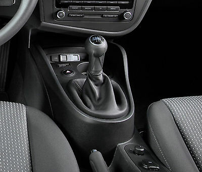 Black Real Leather Gear Shift Gaiter Cover Sleeve fit Seat LEON II MK2 2005 ->