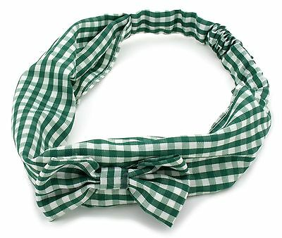 Zest Gingham Check Headband With Bow Hair Accessories Green & White