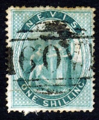NEVIS Queen Victoria 1871-78 One Shilling Deep Green Perf 15 SG 21 Small Thin
