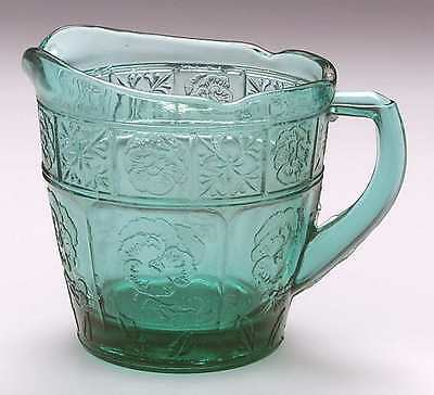 Jeannette Glass DORIC AND PANSY TEAL GREEN Child's Creamer 1748218