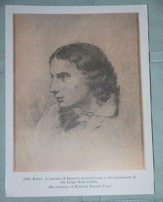 Postcard - John Keats, sepia Portrait by Severn - Keats-Shelley Memorial Assoc