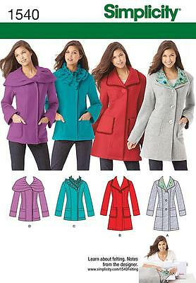 Simplicity SEWING PATTERN 1540 Misses/Petite Jacket In 2 Lengths 6-14 or 14-22