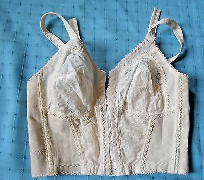 Playtex long line 18 hr bullet bra 36B VTG style 201 front closure RUBBER Pin Up