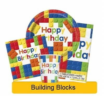 BUILDING BLOCKS Birthday Party Range (Lego) Tableware & Decorations {UNIQUE}