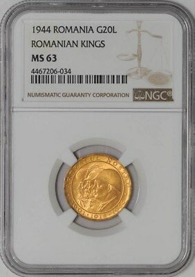 1944 Romania Gold 20 Lei MS63 NGC Romanian Kings