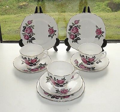 Dorchester English Fine Bone China. Pink Rose 3 x Trios Cups Saucers Plates