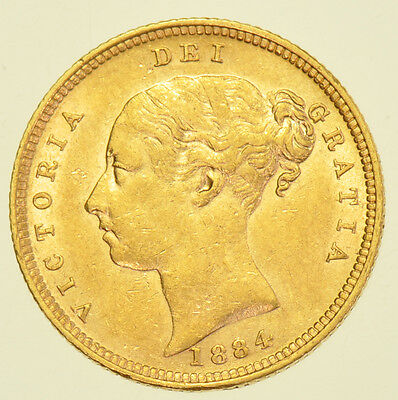 1884 Half Sovereign, British Gold Coin From Victoria Ef