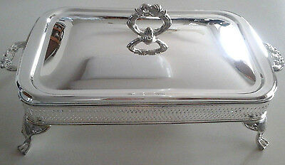 Silverplated Casserole Holder W/lid And Glass Insert Dish