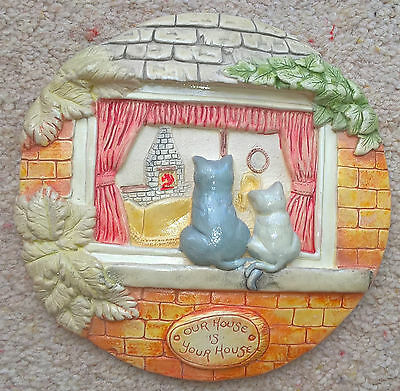 "Vintage Retro Collectible Cat  Plate Plaque featuring "" Our House is Your House"""