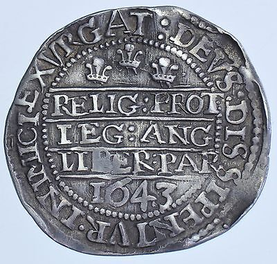 RARE CHARLES I SIXPENCE, 1643, mm. BOOK/-, OXFORD MINT, SILVER HAMMERED COIN
