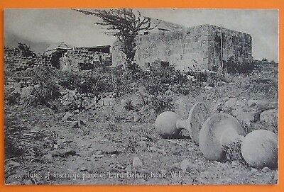 Postcard c.1905 RUINS OF MARRIAGE PLACE OF LORD NELSON NEVIS BRITISH WEST INDIES