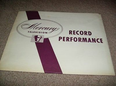 Mercury Television Record Performance Packet Chicago Illinois - 1950