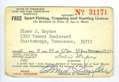 1969 FREE 65 Years Older State of Tennessee Fishing, Trapping, Hunting License