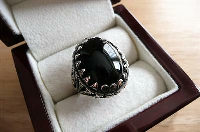 Heavy 925 Sterling Silver Cabochon Black Onyx Mens Ethnic Signet Ring Size T 10