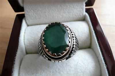 Heavy 925 Sterling Silver Oval Green Agate Mens Signet Ring Size X Us 12