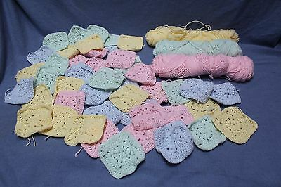 45 Pastel Granny Squares Baby and Partial Skeins of Yarn