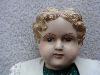 """Vintage 19"""" Doll with Hands & Feet Papier Mache' or compo Cloth Body"""