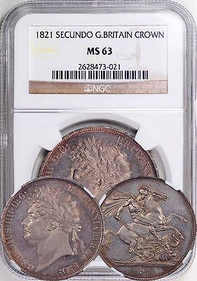 Great Britain 1821 George IV Secundo Crown NGC MS-63 - Beautiful Coin!